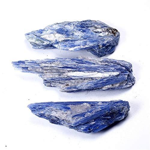 Oneriverspring40 Natürlicher Kyanit-Quarz polierte dünne Scheibeform Blaue Farbe Kristalle getrommelt Kies Cyanit Edelstein für Kristalle (Color : Blue, Size : 70 100g)