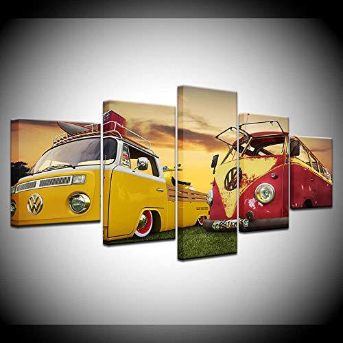 lcyfg Decoración Moderna del Arte De La Pared del Hogar Imágenes HD Impresiones 5 Piezas Volkswagen Bus Car Pintura sobre Lienzo Retro Poster Artwork