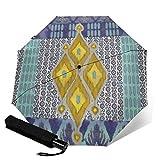 Paraguas plegable de viaje, diseño tribal vintage azul marino Ikat Uzbekistán automático TRIF-Old paraguas a prueba de viento para mujeres con protección UV Auto abierto y cerrado