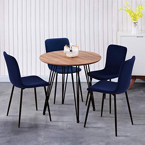GOLDFAN Esstisch mit 4 Stühlen Runder Tisch Holz und Blau Stoff Stuhl Essgrupp Wohnzimmertisch für Esszimmer Küche