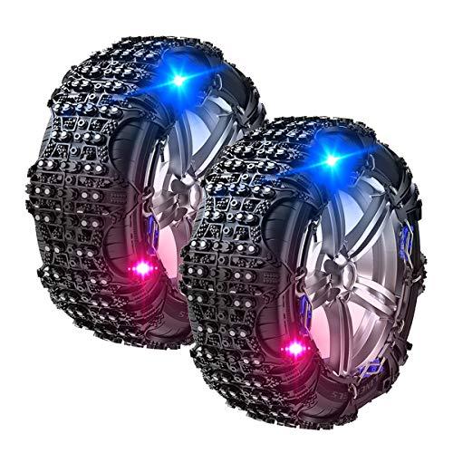 VeroMan タイヤチェーン 非金属 簡単装着 ジャッキアップ不要 スノーチェーン 滑り止め 警告ライト付き 雪対策 駆動タイヤ用 2本入り (ブラック, XL-2)