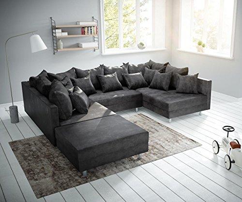 DELIFE Couch Clovis Anthrazit Antik Optik mit Hocker Wohnlandschaft Modulsofa