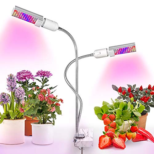 Relassy Lampara Led Cultivo Grow Light 45W con Bombillas de Doble Reemplazable E27 y Cuello de Cisne Flexible para Plantas Cultivo Indoor Hidropónica