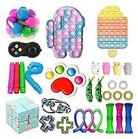フィジットのおもちゃパックタイ染料プッシュポップバブルスケシッシュストレスリリーフ防止感覚おもちゃセット子供大人 (Color : A-30pcs)