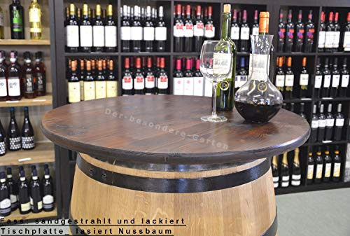 Temesso Tischplatte aus Holz für Weinfass Stehtisch - Nussbaumfarben (D100 cm ohne Bohrung)