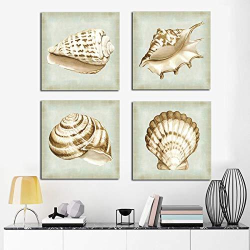 YQLKC Abstracto Modern Life White Chic Sea Shell Canvas Art Minimalista Escandinavo Póster Imagen de Pared nórdica para Sala de Estar 11.8'x11.8 (30x30cm) x4 Sin Marco