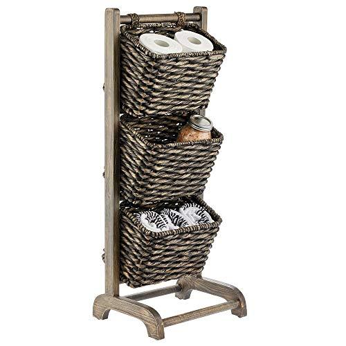 mDesign 3 Tier Vertical Standing Storage Basket Stand Decorative Wood Storage Organizer Tower Rack with 3 Basket Bins - BlackWood