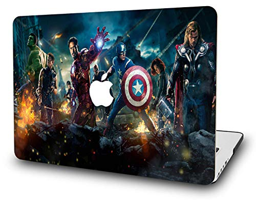 Macbook Pro 13 Inch Case 2018 - RQTX Laptop Accessories Hard Plastic Printed Cover For Apple Mac Pro 13 with Retina & USB-C Ports, Model: A1989/A1706/A1708, Protection Shell of Design Avengers (B)