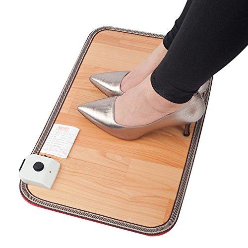 Amusingtao Tapis de sol chauffant électrique - Chauffage au sol sous le bureau - Chauffe-pieds électrique - 50 W - 220 V CA - Pour le bureau et la maison (19,69 x 11,81 pouces)