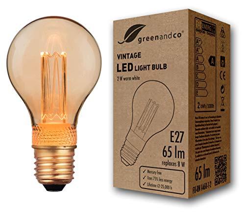 greenandco® Vintage Design LED Birne im Retro Stil zur Stimmungsbeleuchtung E27 A60 Edison Glühbirne, 2W 65lm 1800K extra warmweiß 320° 230V flimmerfrei, nicht dimmbar, 2 Jahre Garantie