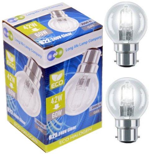 Long Life Lamp Company halogeenspaarlampen, klein, golfbalvorm, verpakking van 10 stuks