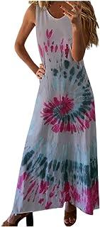Maxi Dress for Women,KYLEON Womens Casual Summer Sundress Sleeveless Gradient Tie-dye Loose Long Dresses Tunic Tank Dress