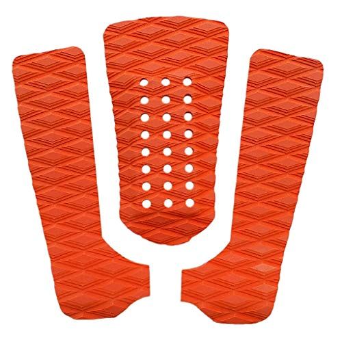 IPOTCH 3pcs Premium Ultralight Diamond Grooved EVA Tabla de Surf Almohadilla de Tracción Tail Mat Deck Grip para Surf Skimboarding Blanco - Naranja