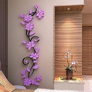 Purple Flowers Corridor 3D Crystal Stereoscopic Wall Sticker