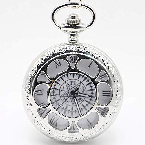 HGJINFANF Mano de Obra Elegante y Simple, Exquisita, Buenos Reloj de Bolsillo Silver Quartz Análogo Colgante Colgante Hombres Mujeres Relojes Regalo