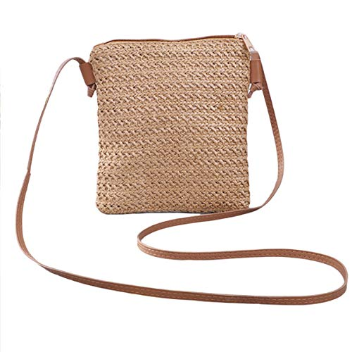 wdehow Women Summer Beach Bag Weave Shoulder Messenger Bag Straw Crossbody Rattan Bag Beach Purse Summer Holiday Travel Tote Bags with Shoulder Leather Straps (B-Dark Brown, One Size)