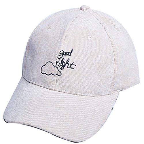 Belsen Hombre Invierno Terciopelo de pana Nubes bordado letra gorra béisbol Cap beige Talla única
