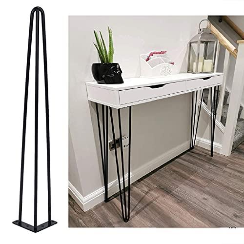 Lot de 4 pieds de table à épingle à cheveux, pieds pour meubles et bureau, table basse, table à manger, en acier (70 cm)