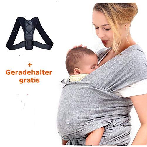 Écharpe de portage pour bébé et dos - Support pour dos - Protection du dos - Traction longue - Élastique doux - Correction de la nuque - Système de transport pour nouveau-né - Sport I