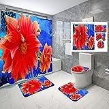 MOUMOUHOME Juego de cortina de baño de flores con pintura al óleo para baño, fondo abstracto azul, cortina de ducha y...