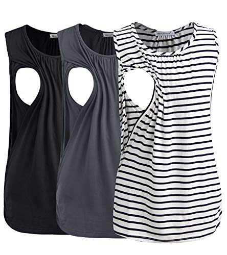 Smallshow Women's Maternity Nursing Tank Tops Breastfeeding Clothes 3-Pack Large Black-Dark Grey-White Stripe