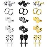 Aroncent 15 Pairs Stud Earrings Dangle Hinged Hoop Earrings CZ Stud Earrings Set for Men Women Stainless Steel Earring Set