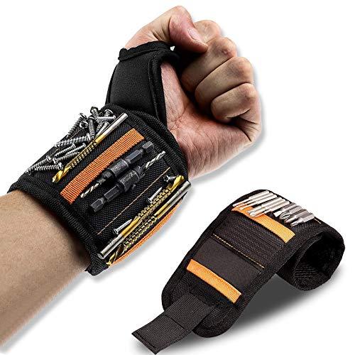 KAHEAUM Magnetic Wristband for Men Women Dad Husband Boyfriend Mens Gifts,Wrist Magnetic Tool Holder,Magnetic Tool Belt,Magnetic Wristband for Screws,Gadgets,Tools,Wrist Tool Magnet Stocking Stuffers