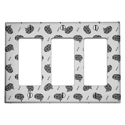 Triple 3 Gang Rocker (Decora/GFCI Device) Decorative Switch Wall Plate Cover (Brain On White Pattern)
