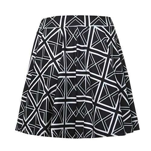 Liably Falda básica versátil para mujer, monocolor, con pliegues acampanados, estilo informal, a la moda, colorida. 1 negro L
