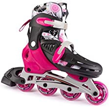 New Bounce Adjustable Inline Skates for Kids - 4 Wheel Blades Roller Skates for Girls, Teens, and Young Adults, Outdoor Rollerskates for Beginners & Advanced | Pink (Small (12-2 US))