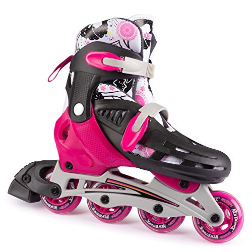 New Bounce Adjustable Inline Skates for Kids - 4 Wheel Blades Roller Skates for Girls, Teens, and Young Adults, Outdoor Rollerskates for Beginners & Advanced   Pink (Large (6-9 US))