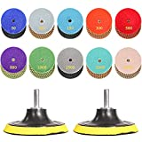 Sogalife 12 Pack 4 inch Diamond Polishing Pads Set, Wet & Dry Polish Wheel for Granite Stone Concrete Marble Glass Floor Grinder or Polisher, 50#-3000# Buffing Pads with 2pcs Hook & Loop Backer Pads