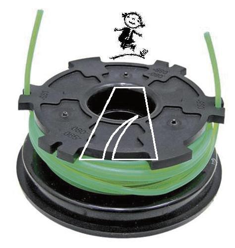 Fadenspule m. Kapazität 6 m bei 2,0 mm Ø, passend für MTD 500, 700, 710 AST, 700 VP, 800, BL 2838 C