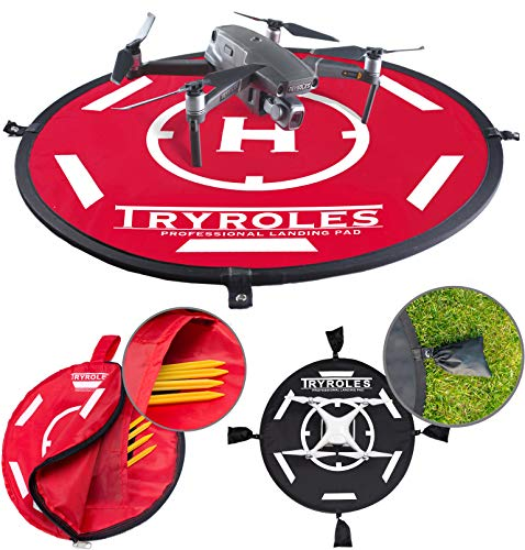 """30"""" Weighted OR Anchored Waterproof Drone Landing Pad. Functional Carrying Bag Stash Pocket Inside. Universal Foldable Helipad. for All Drones up to 12' DJI Mavic Pro Phantom 4 Spark Air"""
