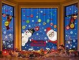 Tuopuda Navidad Pegatina de Ventana,Calcomanías de Bolas Colgantes de Colores Pegatina de Pared Tienda De Ventana Santa y muñeco de Nieve Copos de Nieve Pegatina DIY