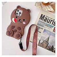 THUCHENYUC 3Dかわいい漫画クマチョコレートクッキー電話ケースiPhone12 Mini 11 Pro XS Max XRXビスケットソフトシリコンストラップカバー (Color : Bear, Size : For iPhone XR)