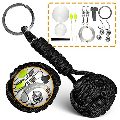 Paracord Keychain W/Fishing Set - Tactical Lanyard W/Ferro Rod, Flint Scraper & Cotton - Military Grade Parachute Cord Lanyards with Key Ring for Men - Durable Survival Gear - Present for Father