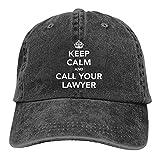 Gorra de béisbol ajustable con texto en inglés 'Keep Calm and Call Your Lawyer Hats for Men Women Vintage Dad Hats Black