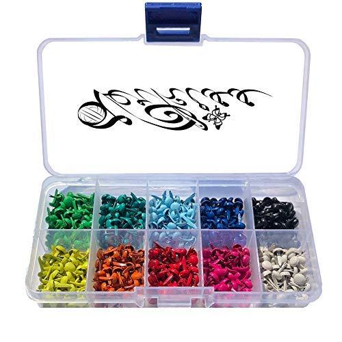 Mini Musterbeutelklammern 500 Stück Brads für Scrapbooking Basteln in der Box - Musterklammern Rundkopf bunt 10 Farben 5mm x 9mm Rund Briefklammern farbig