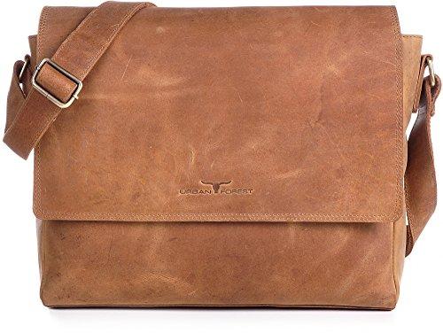 Ledertasche Vintage Leder Umhängetasche von URBAN FOREST Damen Herren 14 Zoll Laptoptasche Messenger Bag Aktentasche Arbeitstasche Notebooktasche DIN-A4 Cognac Camel 36x28x8cm (B x H x T)