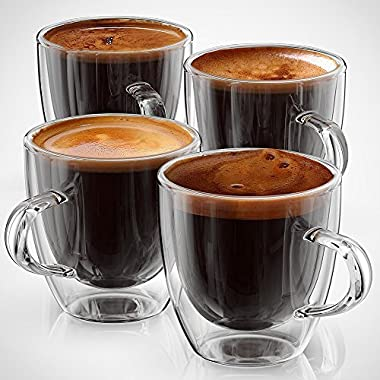 Espresso Cups or Shot Glass Set of 4 Expresso Double Walled Coffee Glasses With Handle Retro Boxed By Anchor & Mill AM 04 5 ounce