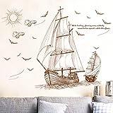 Adesivo da parete in vinile rimovibile, per cameretta dei bambini, motivo: nave, 60 x 90 cm