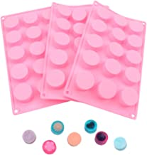 BAKER DEPOT 15 Holes Cylinder Silicone Mold for Handmade soap Jelly Pudding Cake Baking Tools Biscuit Cookie Molds Pink