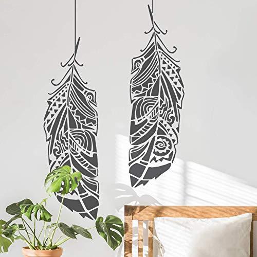 STENCILIT Wandschablone Groß - Feder Schablone zur Verwendung für Wand oder als Wanddekoration Wohnzimmer - Stencil Schablonen Wand - Wandschablone Kinderzimmer - Wand Deko
