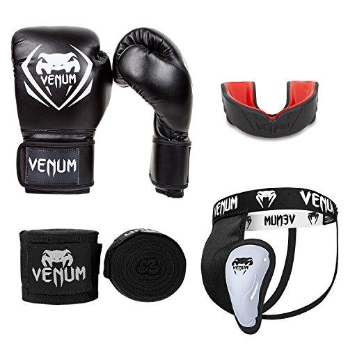 Venum Contender V.07 Boxset, Schwarz, Boxhandschuhe 12 oz + Tiefschutz L