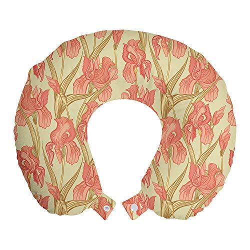 ABAKUHAUS Floral Cojín de Viaje para Soporte de Cuello, Old Times Diseño Flores, de Espuma con Memoria y Funda Estampada, 30x30 cm, Amarillento salmón