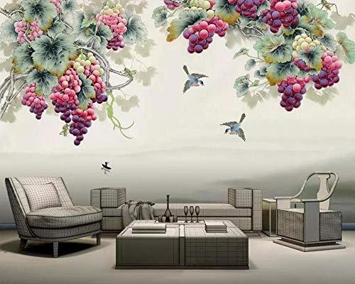 Behang vliesbehang, 3D, muurschildering, balpen, Chinese stijl, paars, geur, druiven, tv, achtergrond, muurverf, 3D-behang 400*280 400*280