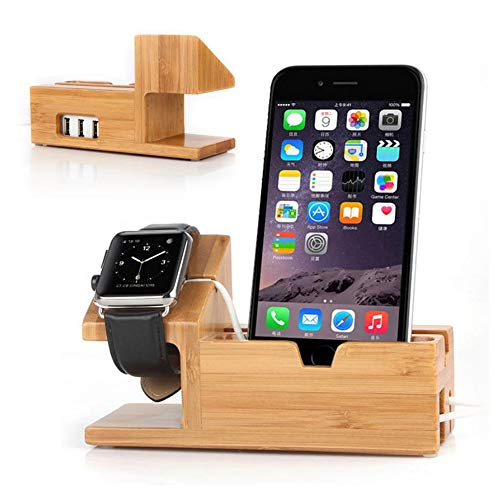 ETCBUYS Wood Charging Station - Fashion Creative Design 3 USB Ports Multiple Devices Organizer Stand for Smartphones Tablets Watch - Eco-Friendly Office Desktop Wooden Docking for Earpods and iWatch