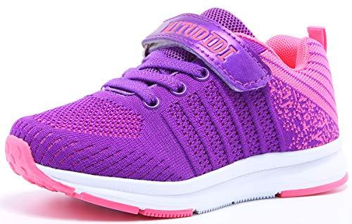 Hallenschuhe Kinder Turnschuhe Jungen Sport Schuhe Mädchen Kinderschuhe Sneaker Outdoor Laufschuhe für Unisex-Kinder Violett,33 EU=34 CN (215)