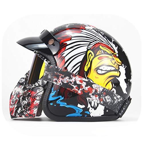 Toukuim Open Gezicht Vintage Motorhelm Leer 3/4 Motorfiets Chopper Bike Helm Harley Helm Jet Helm Halve Helm met Goggle Masker, M
